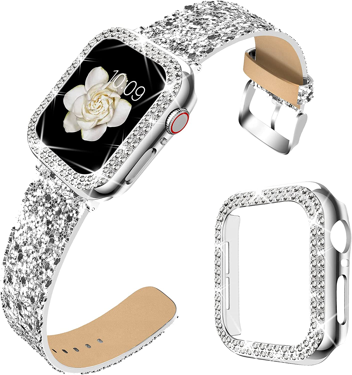 DABAOZA Compatible for Apple Watch Band 40mm 44mm with Case, Bling Women Glitter Leather Strap Sparkle Replacement Wristband with Dressy Crystal Bumper Cover for SE iWatch Series 6 5 4