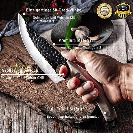 1095 Lame Main Forgé 1095 acier Couteau de cuisine 4218