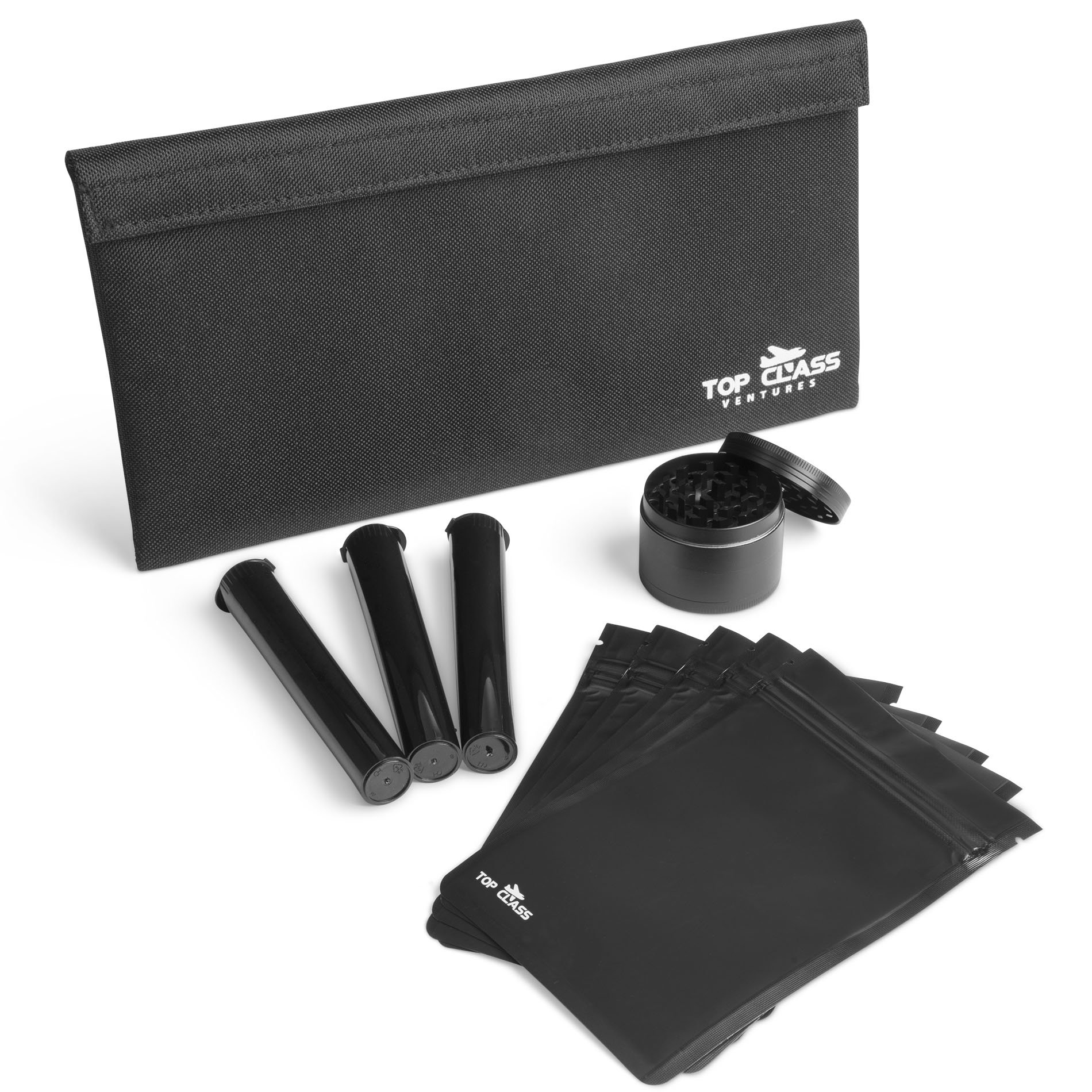 Smell Proof Bag with Smoking Accessories – Container Pouch PLUS Grinder, Resealable Bags, and Doob Tubes – Stash Storage Case - Smellproof No Odor Bags