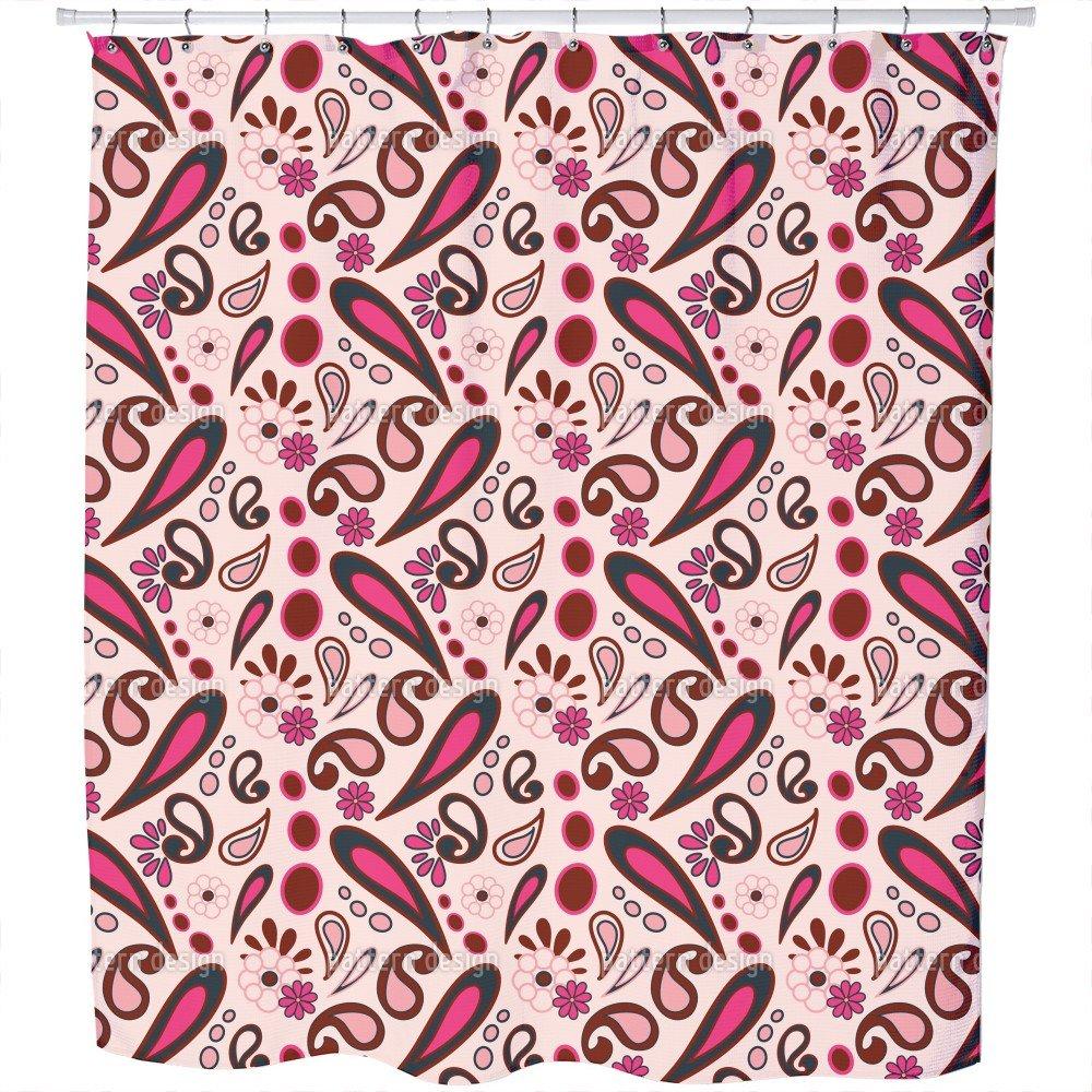 Uneekee Beebob Paisley Pink Shower Curtain: Large Waterproof Luxurious Bathroom Design Woven Fabric