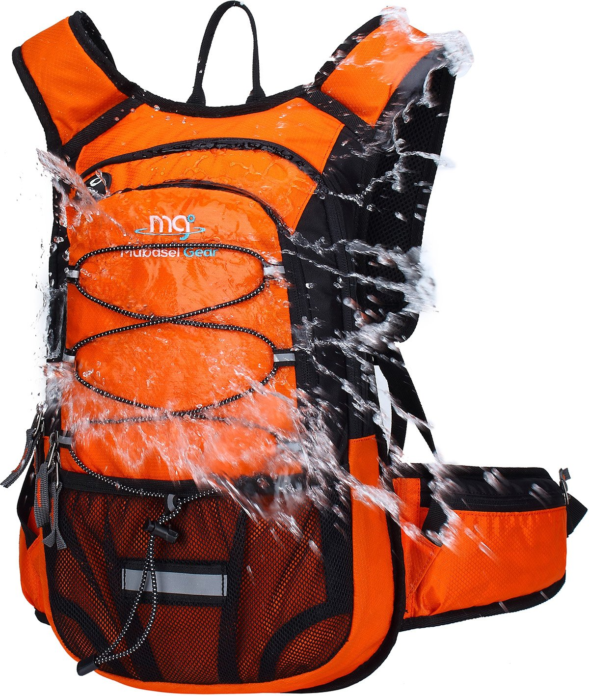 Mubasel Gear Insulated Hydration Backpack Pack with 2L BPA Free Bladder - Keeps Liquid Cool up to 4 Hours - for Running, Hiking, Cycling, Camping (Orange) by Mubasel Gear
