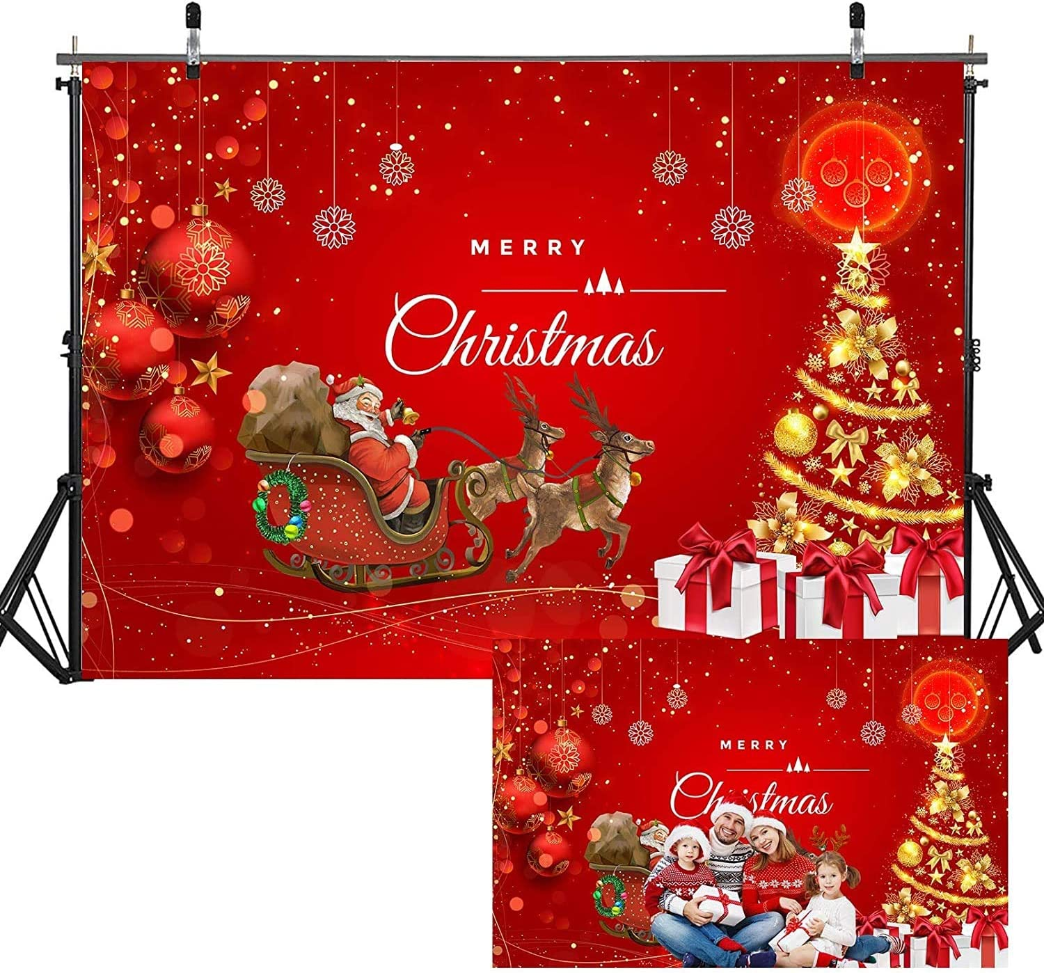 Teblacker 7.7ftx5ft Christmas Backdrop Xmas Home Decor Photography Santa Themed Christmas Tree Gift Decorations for Xmas Party Supplies Background Pictures Banner Photo Studio Decor Booth Props