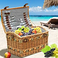 Willow 4 Person Picnic Basket Baskets Set Outdoor Blanket Deluxe Gift Storage