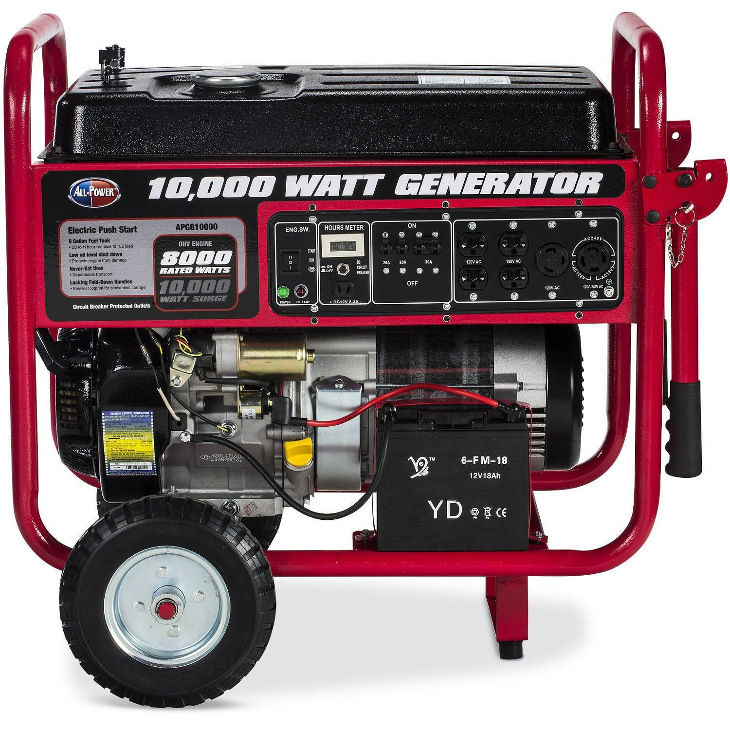 All Power America Apgg10000 10000w Watt Generator With Wiring Diagram For Onan 7500 Electric Start Portable Gas Home Use Emergency Backup Rv Standby