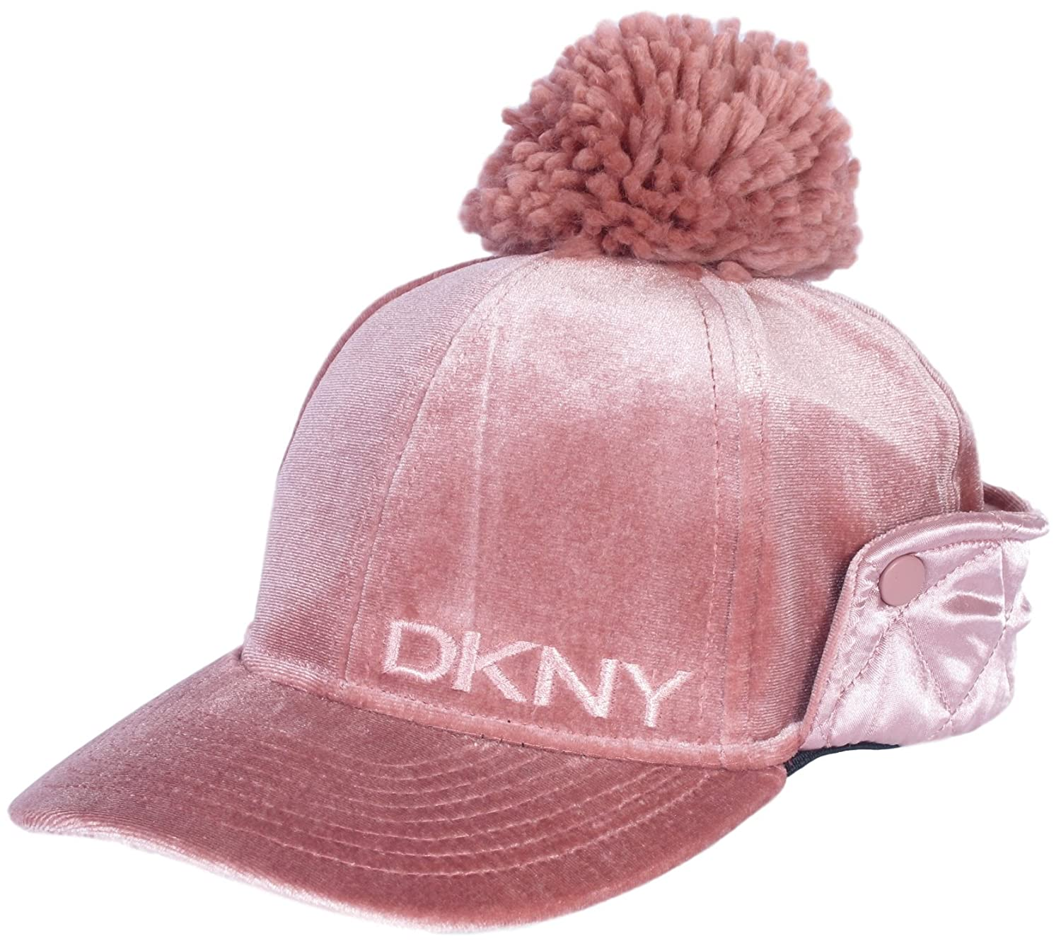 DKNY Girl's Velvet Bomber Hat With Satin Ear Flap and Pom Pom Blush Size 7-16'