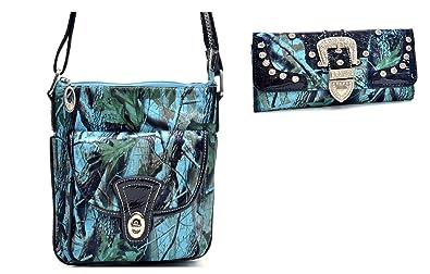 99715d926 LAH Camo Western Messenger Bag Hipster Crossbody Purse Trifold Wallet Set  Jp (BLUE)