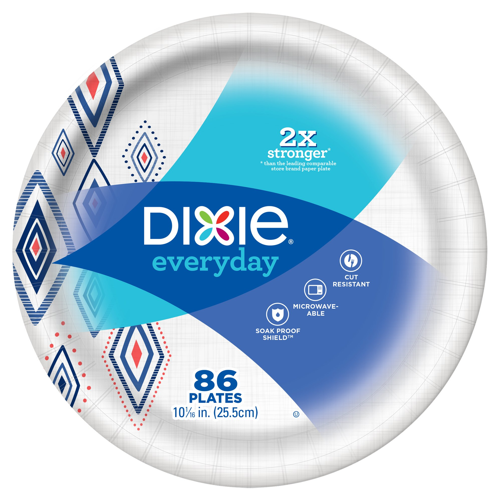 Dixie Everyday Paper Plates, 10 1/16'', 86 Count, Amazon Exclusive Design, Dinner Size Printed Disposable Plates by Dixie