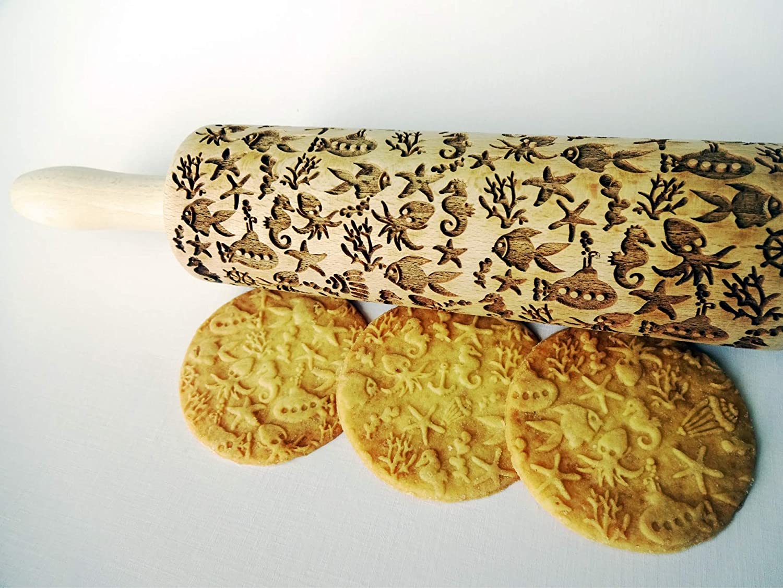 Laser engraved wooden rolling pin Embossing Rolling Pin DEEP OCEAN