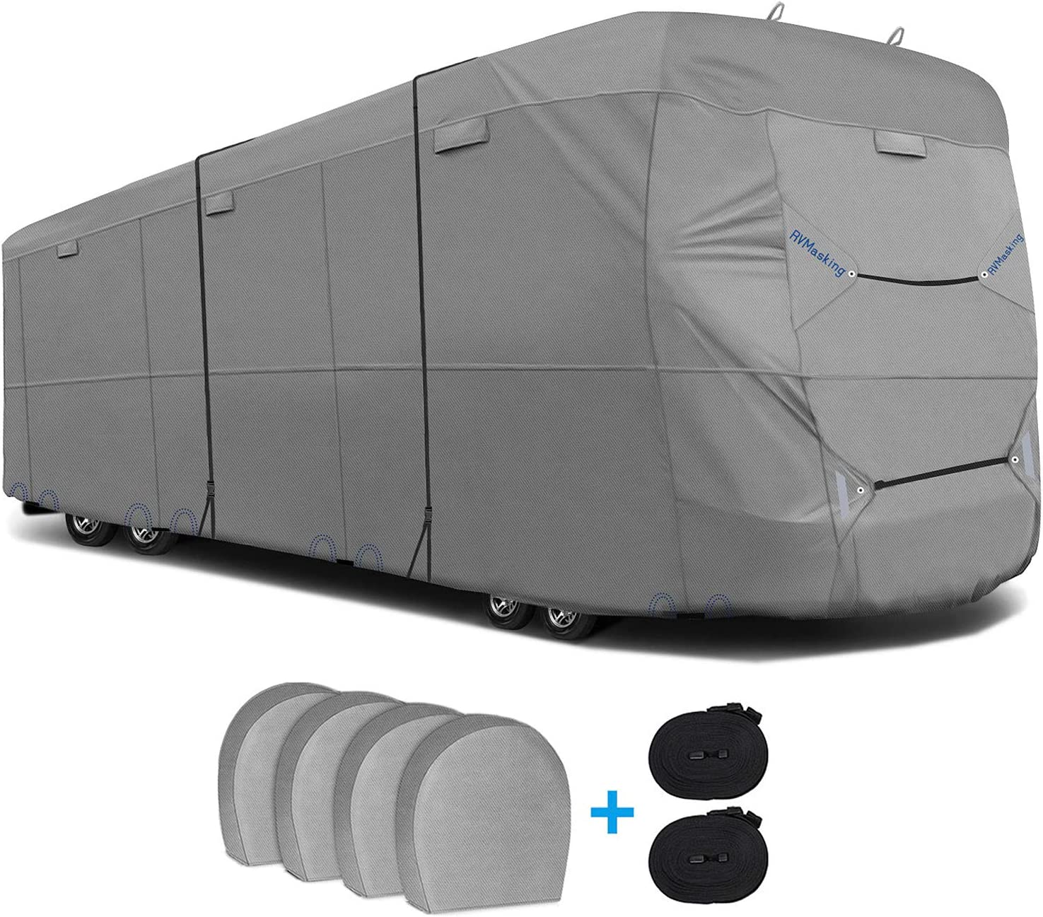 RVMasking 6 Layers Top Class A Rv Cover with 4 Tire Covers, 34.1-38 ft