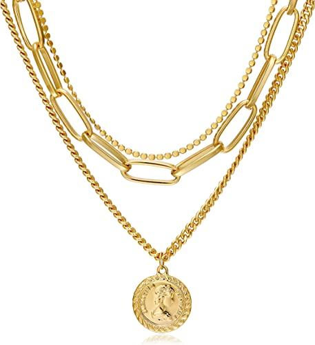 3 vintage layering necklace set in gold tone Layering necklaces
