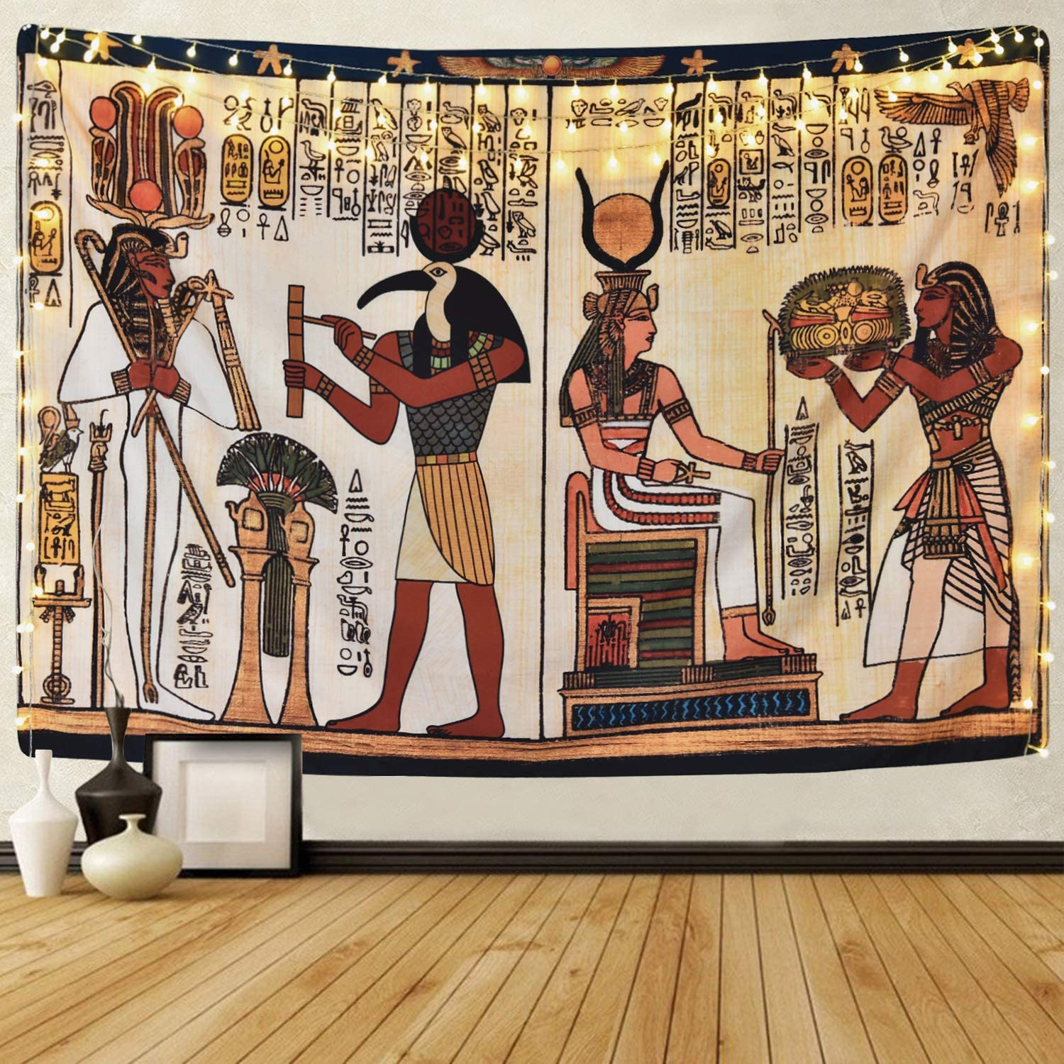 Sevenstars Egyptian Tapestry Ancient Egypt Mythology Tapestry Egyptian Gods Pharaohs Hieroglyphic Carvings Tapestries for Room