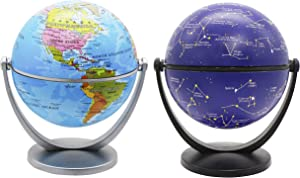 Exerz Mini Globe 4-inch / 10 cm 2 Pieces Set - 1 x Political, 1 x Stars & Constellations Swivels in All Directions Educational, Decorative, Unique, Small World, Desktop, Vintage (Mini Globe 2 Pack)