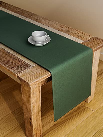S9Home By Seasons 6 Seater Plain Green Table Runner 72X12 Inches