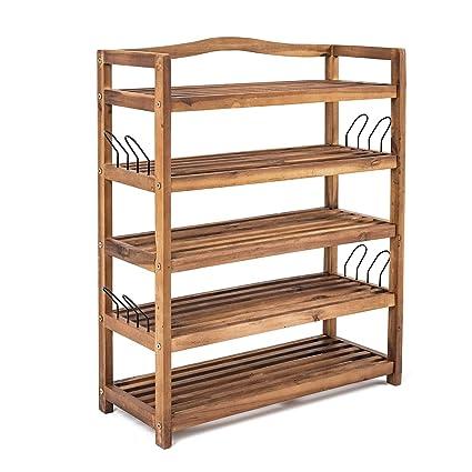 Schuhschrank Regal Holz Schuhregal mit 5 Etagen zum aufh/ängen mit Haken Schuhablage