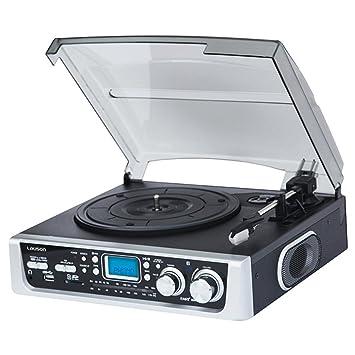 Lauson CL138BLACK - Tocadiscos (radio AM/FM, entrada de tarjeta USB y SD), negro