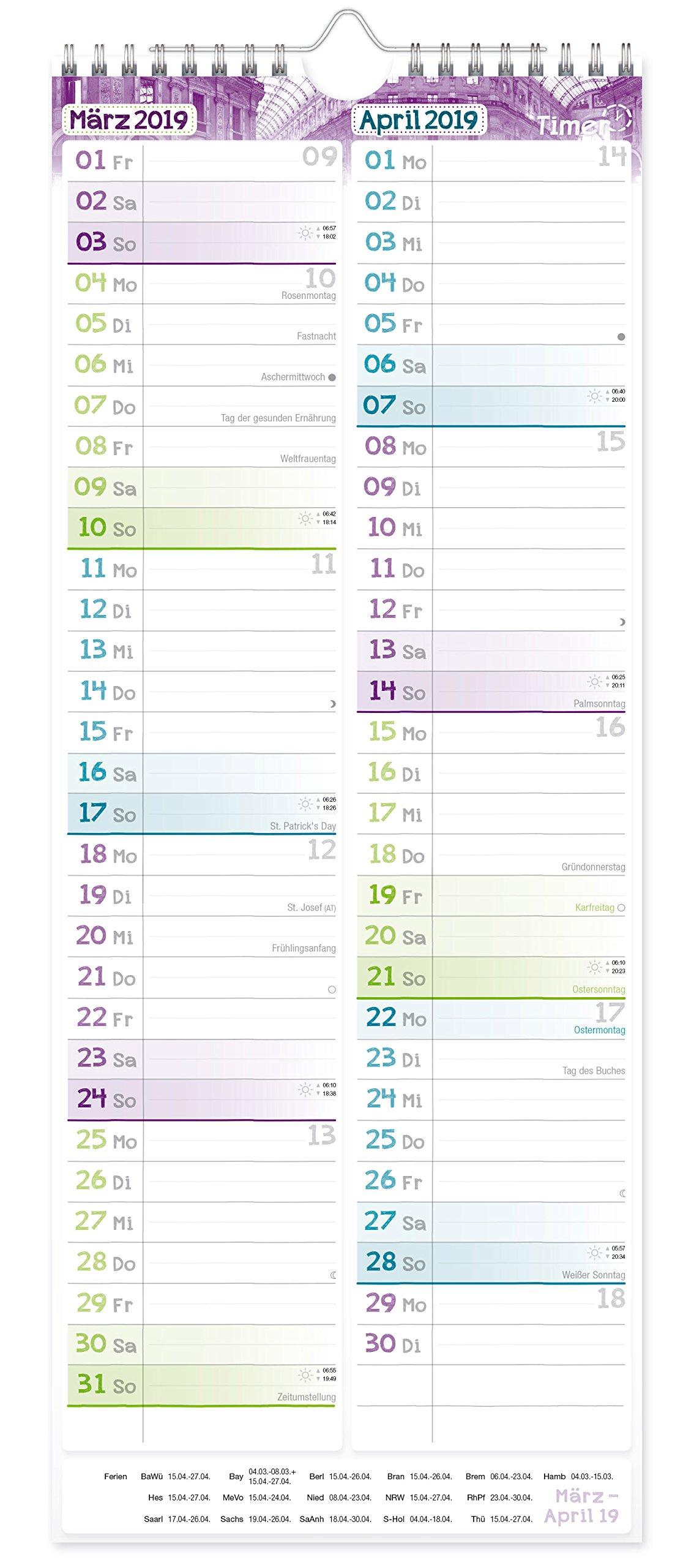 Wandkalender Planer für Zwei 2018 17x42cm, 3 Spalten, Ferientermine ...