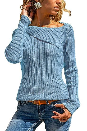 Yidarton Damen Strick Sweatshirt Langarm Asymmetrische Ausschnitt Bluse Oberteile Tunika Strickpullover T Shirt