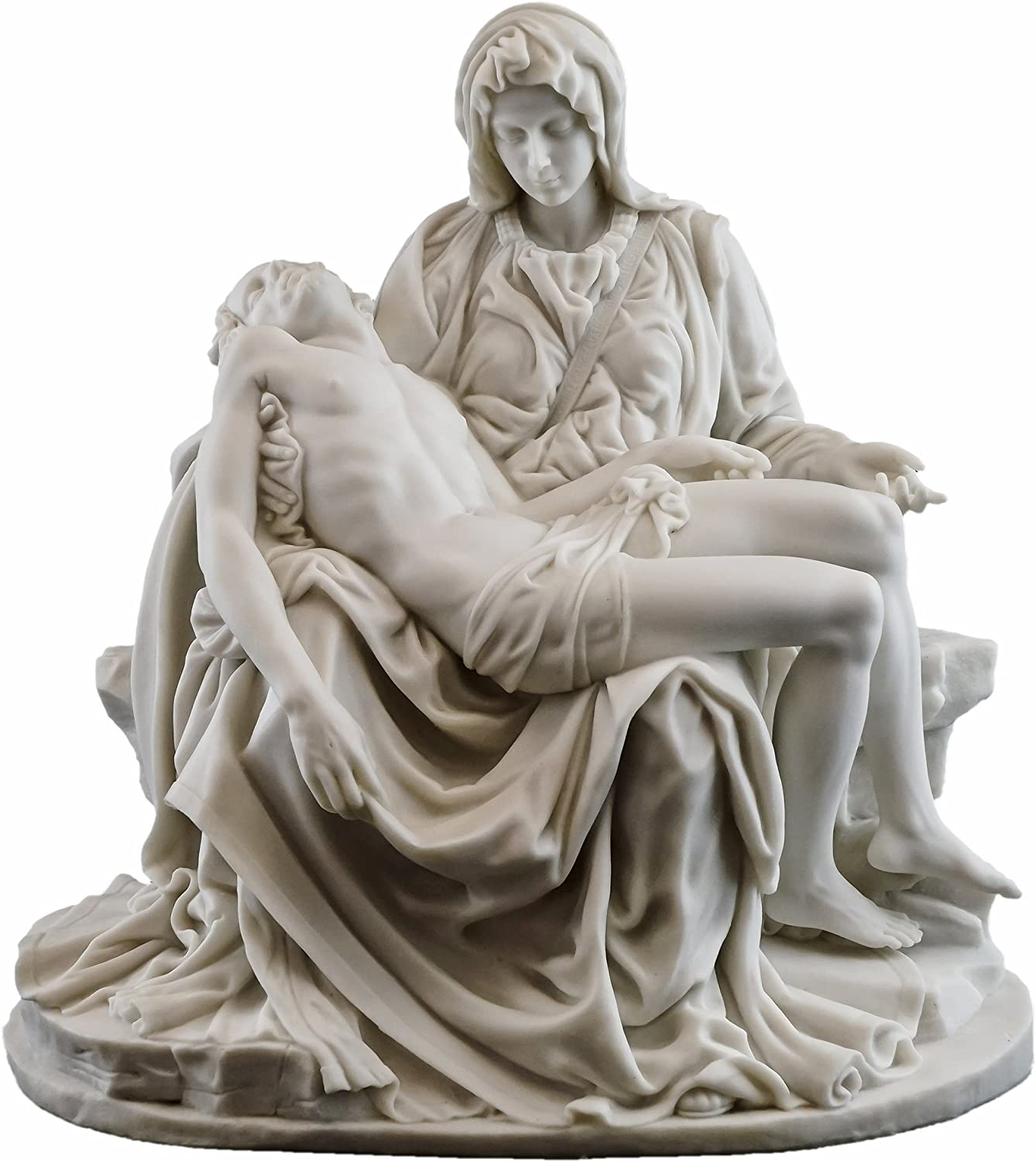 Top Collection La Pieta by Michelangelo Statue - Museum Grade Replica in Premium Sculpted Resin - 10-Inch Tall Figurine with White Marble Finish