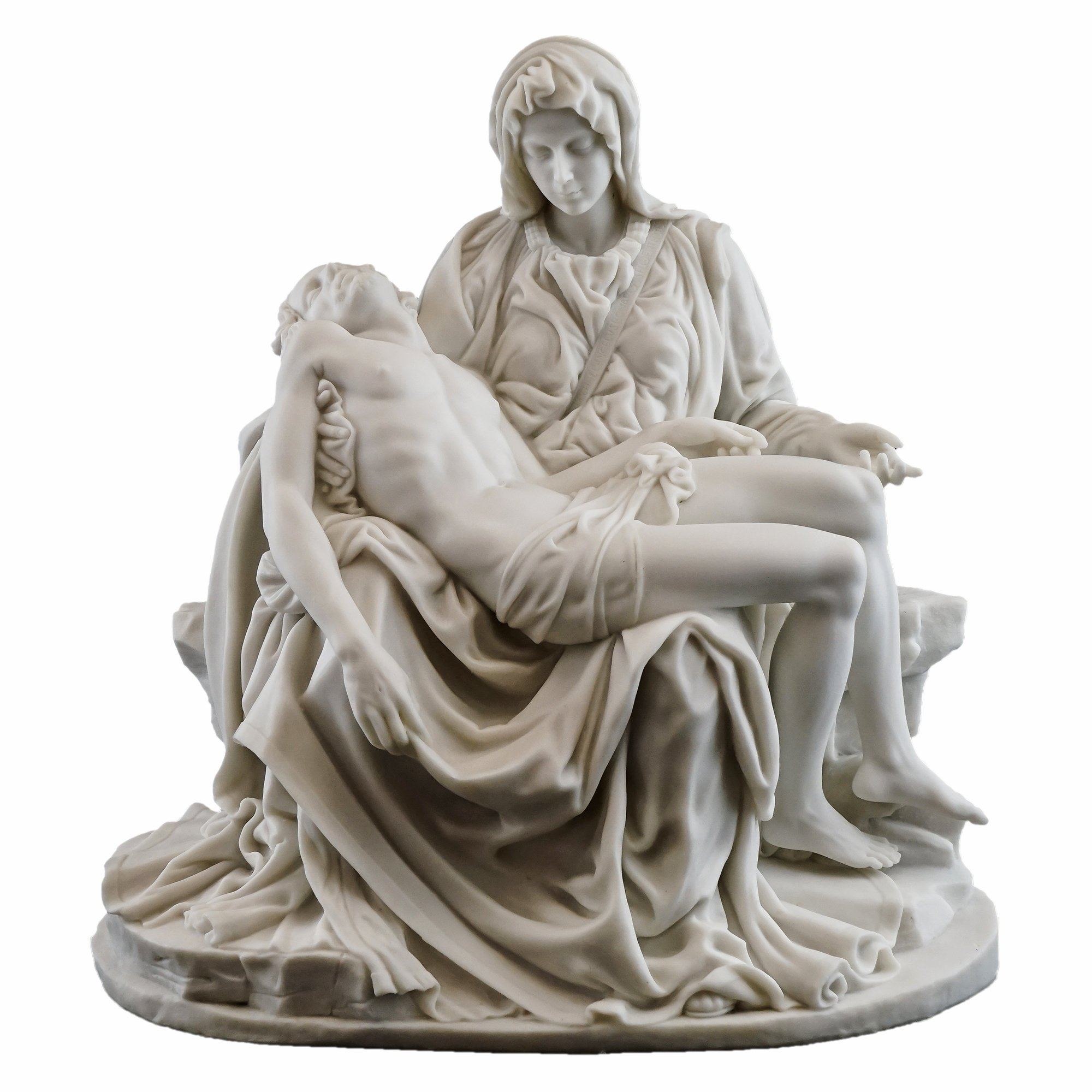 Top Collection H 10'' W 10'' La Pieta Statue by Michelangelo Buonarroti in White Marble Finish- Renaissance Sculpture by Top Collection