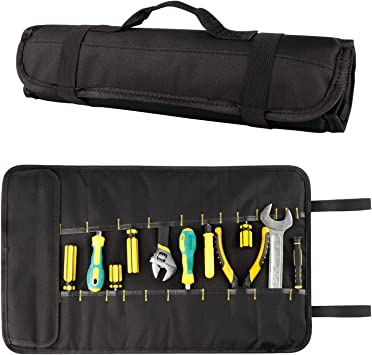 Wessleco Tool Roll, 35 Pocket Wrench Roll Up Organizer Pouch Storage for Electrician, HVAC, Plumber, Carpenter or Mechanic (Black)