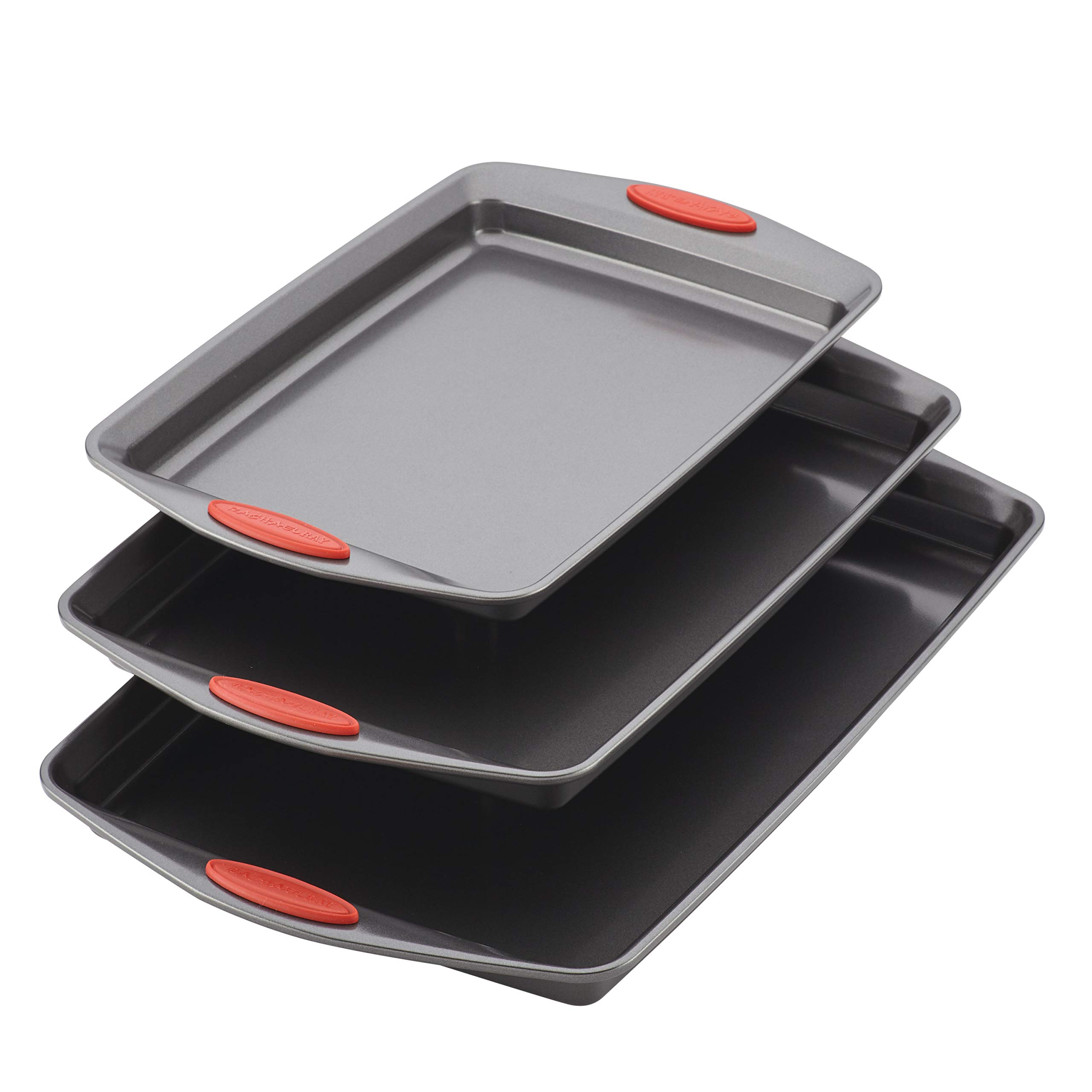 Rachael Ray 47423 3-Piece Cookie Pan Steel Baking Sheet Set, Gray with Red Grips