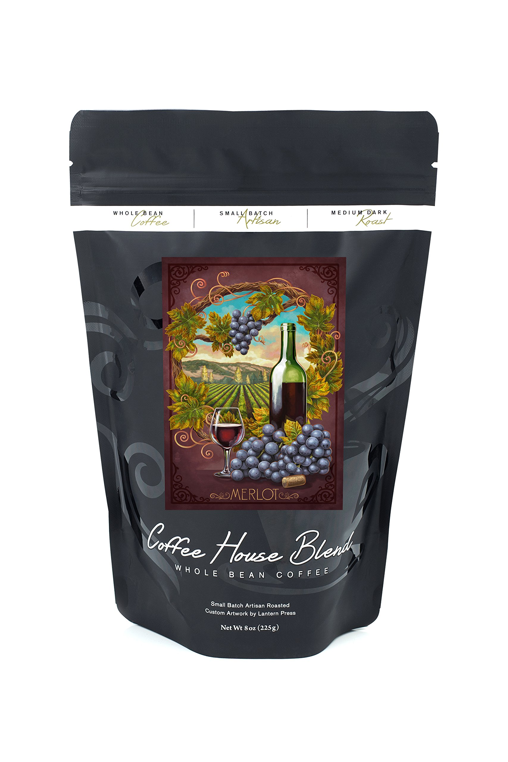 Merlot (8oz Whole Bean Small Batch Artisan Coffee - Bold & Strong Medium Dark Roast w/ Artwork)