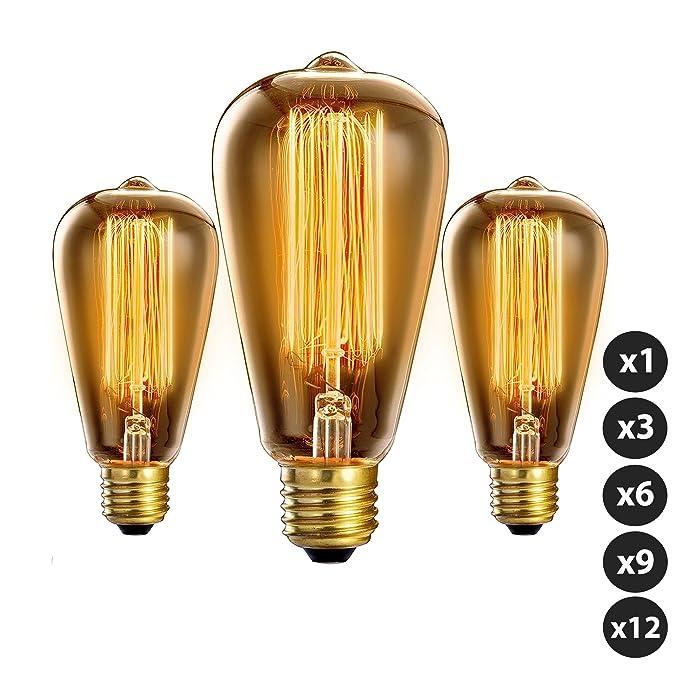 Trellonics longue durée de qualité premium Edison Ampoule 40W en forme de cage d'écureuil Filament Standard lamps–Disponible en packs de 1,3,6,9et 12, E27 40.00 wattsW