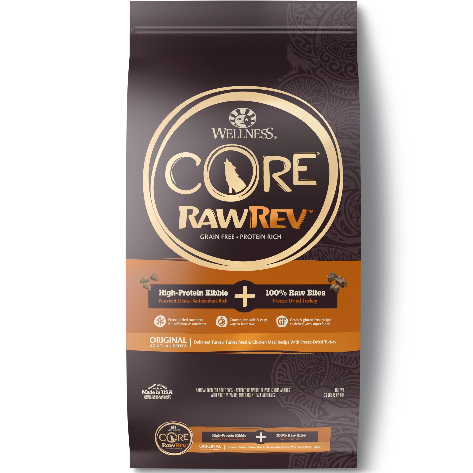 Wellness Core Rawrev Natural Grain Free Dry Dog Food, Original Turkey & Chicken With Freeze Dried Turkey, 20-Pound Bag