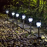 GIGALUMI Solar Lights Outdoor Garden Led Light Landscape / Pathway Lights Stainless Steel-6 Pack
