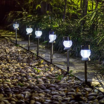 Gigalumi Solar Lights Outdoor Garden Led Light Landscape Pathway Lights Stainless Steel 6 Pack