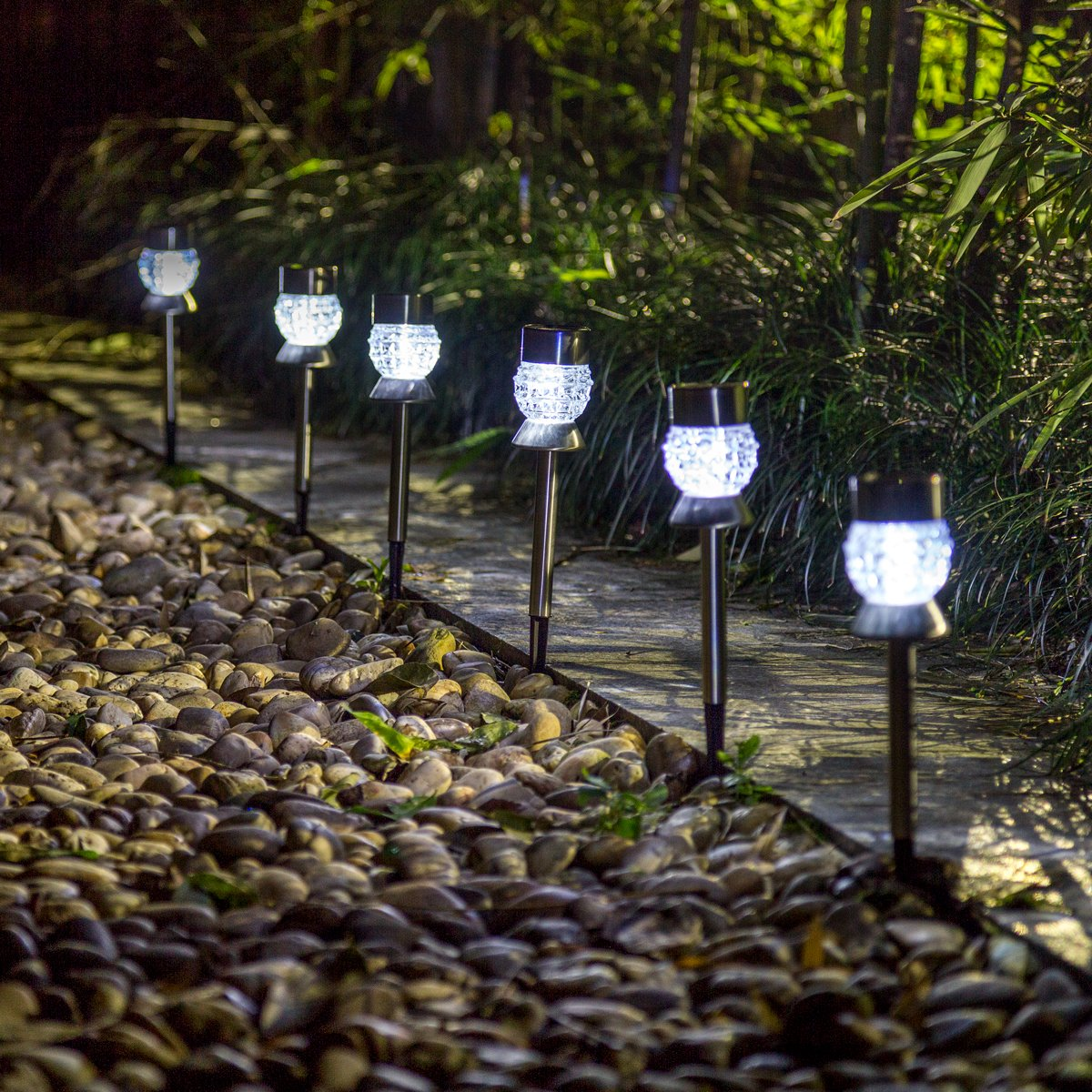 GIGALUMI Solar Lights Stainless Steel-6 Pack Auto On/Off