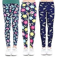 Coralup Leggings elásticos para niñas para niños, pantalones casuales con estampado floral de longitud completa de 2 a…
