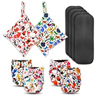 Soft, high absorbency, charcoal bamboo lining, cloth diapers for babies & toddlers. 4 diapers plus bonus wetbags & charcoal bamboo inserts. Adjustable, reusable & waterproof. Colorful animal prints