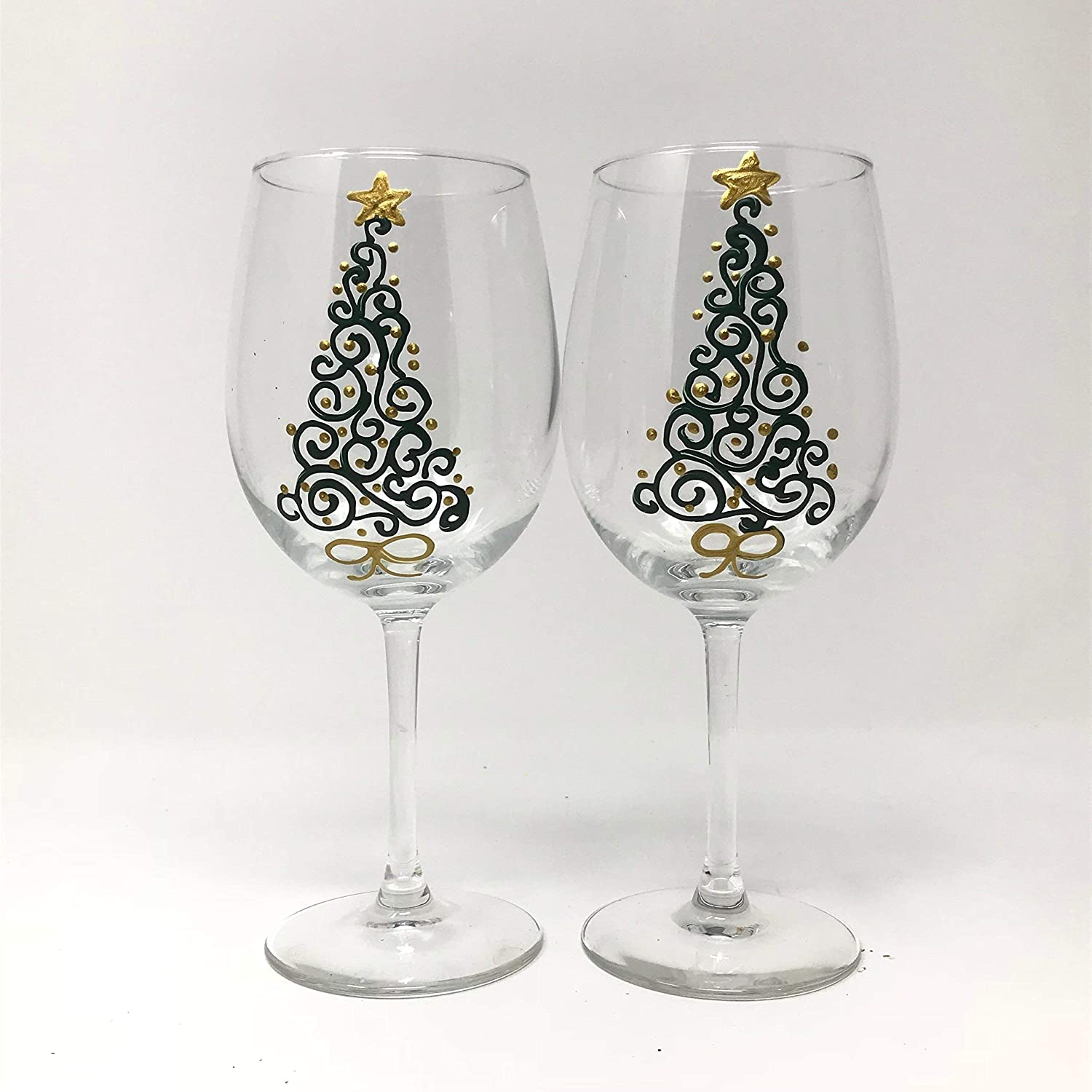 Amazon Com Hand Painted Christmas Wine Glasses Set Of 2
