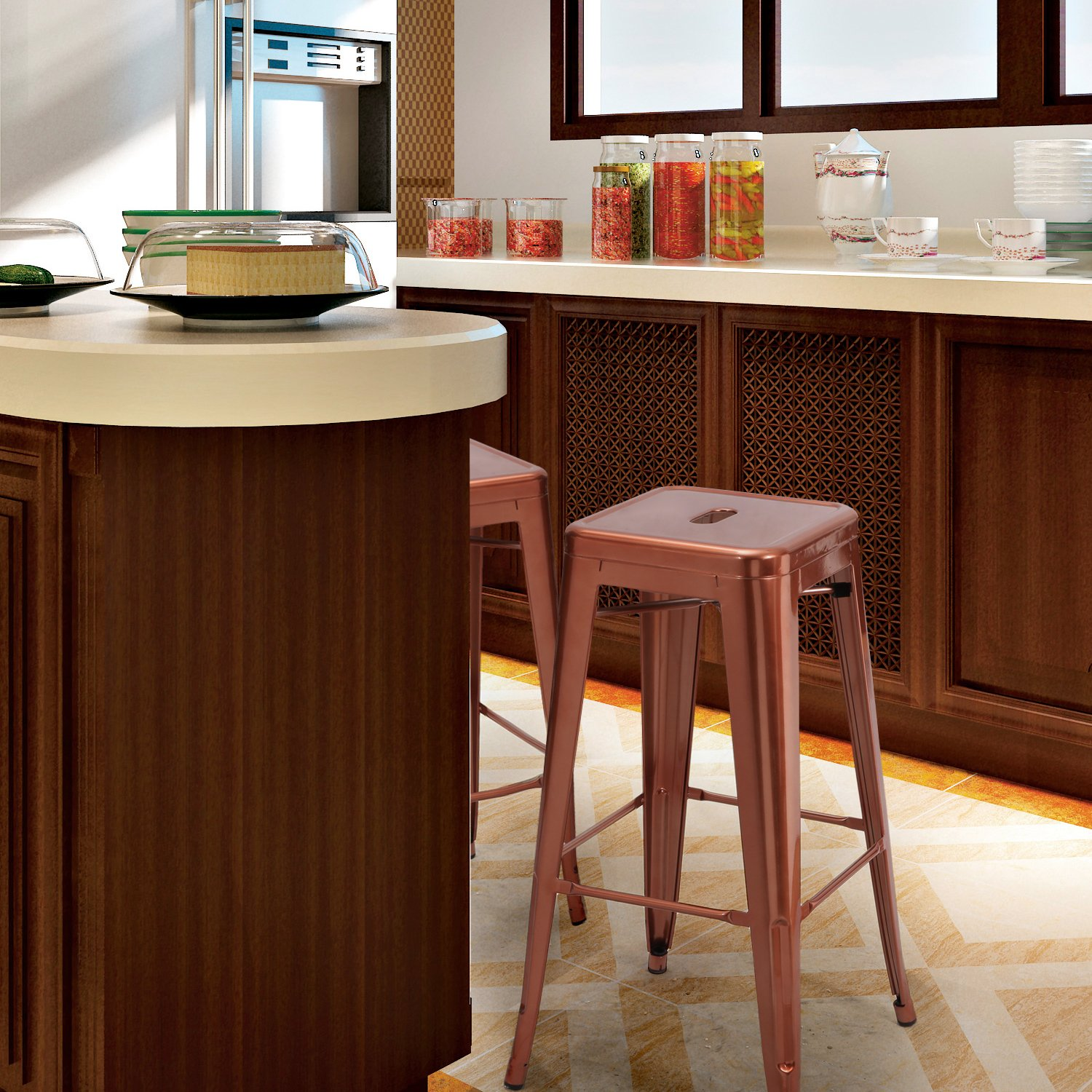 Joveco 24 30 Inches Sheet Metal Frame Tolix Style Bar Stool – Set of 2 30 Inches Brown