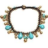 Infinity Turquoise Anklet Drop Handmade Brass Bead Bell Ankle Bracelet for Women KAN-T01