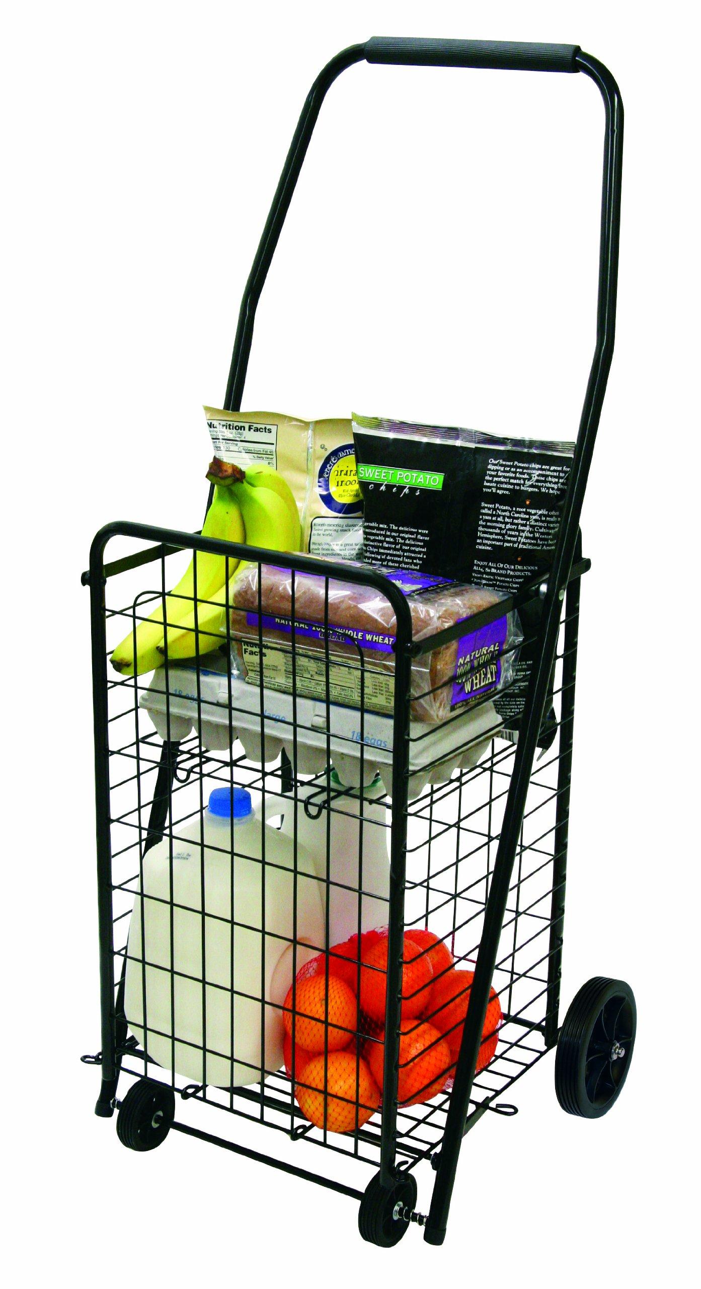 The Faucet Queens 16713 Pop 'n Shop Cart with Shelf, Black