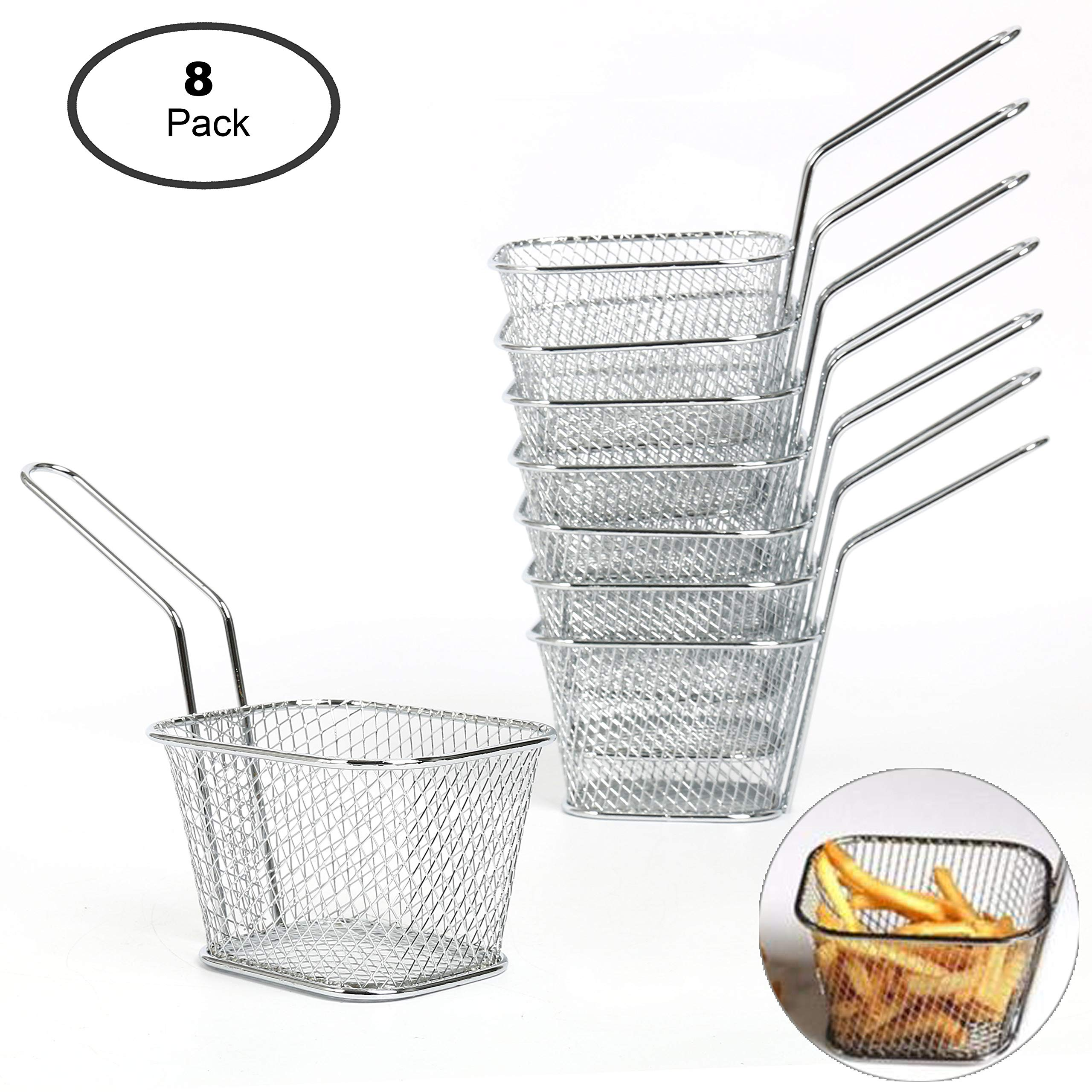 Yaekoo 8Pcs Mini Mesh Wire French Fry Chips Baskets Net Strainer Kitchen Cooking Tools by Yaekoo (Image #2)