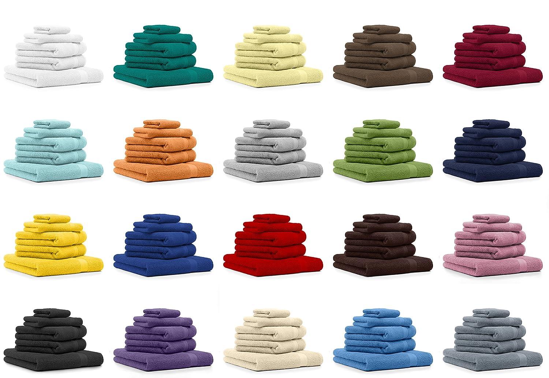 BETZ Lot de 5 Serviettes Set de 1 Drap de Bain 2 Serviettes de Toilette 1 Serviette dinvit/é 1 Gant de Toilette 100/% Coton Premium Color Orange