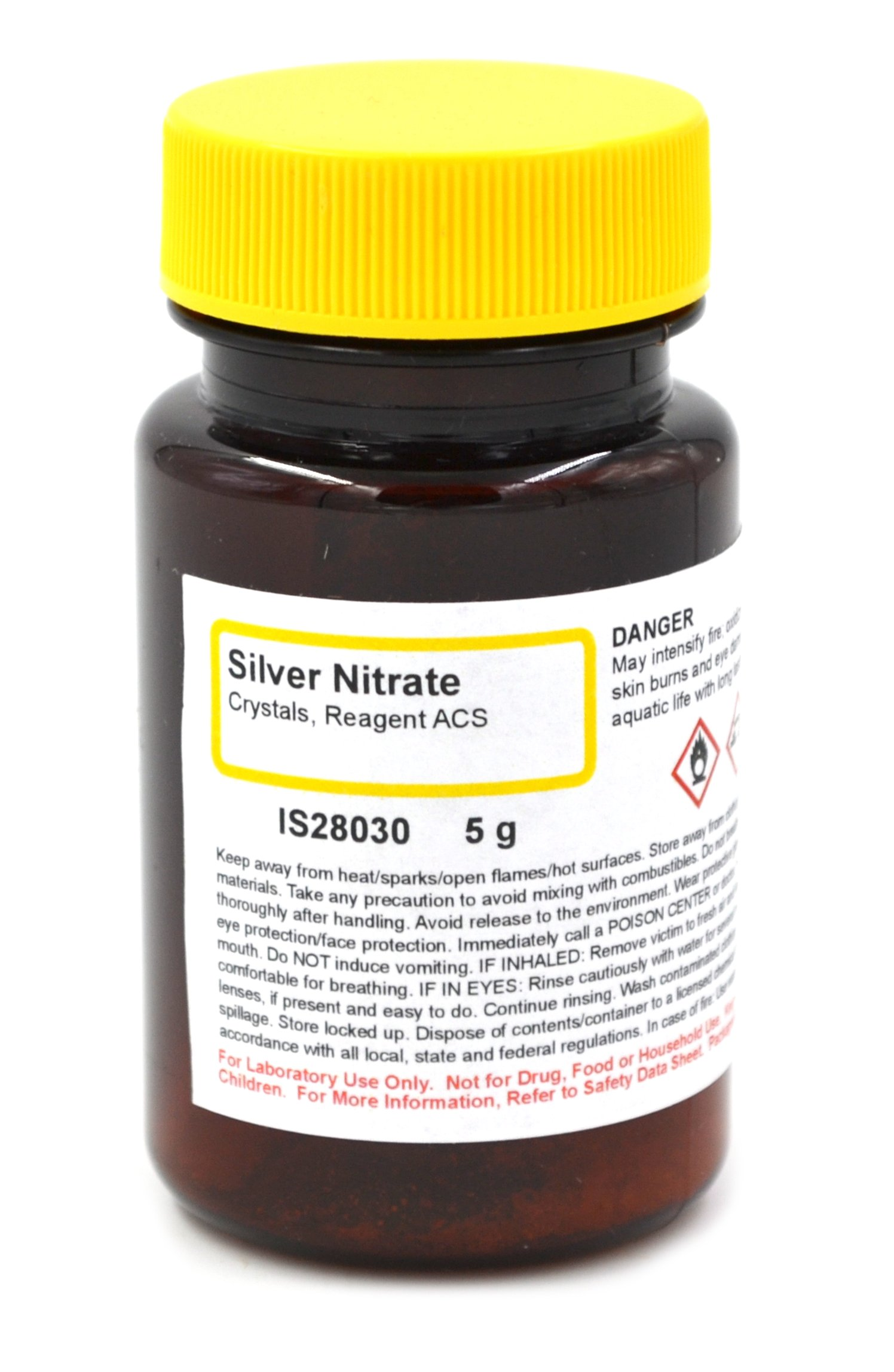 ACS-Grade Silver Nitrate Reagent Crystals, 5g - The Curated Chemical Collection