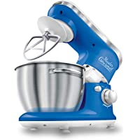 Sencor 6 Speed Stand Mixer with Pouring Shield and 4 Specialized Metal Attachments and Stainless Steel Bowl, 4.2 Qt, Blue