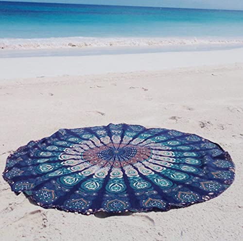 TEXTILLHUB Indian Round Tapestry Indian Mandala Round Roundie Beach Throw Tapestry Wall Hanging Hippy Boho Gypsy Cotton Tablecloth, Round Yoga Sheet 72 Multicolor Blue