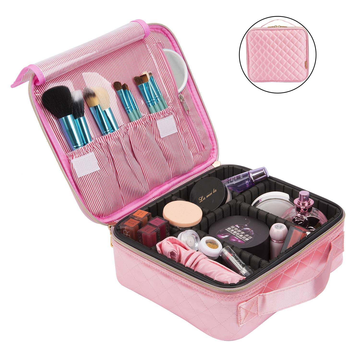 Pink Travel Makeup Bag for Women, Professional Train Case Nylon Cosmetic Storage Organizer