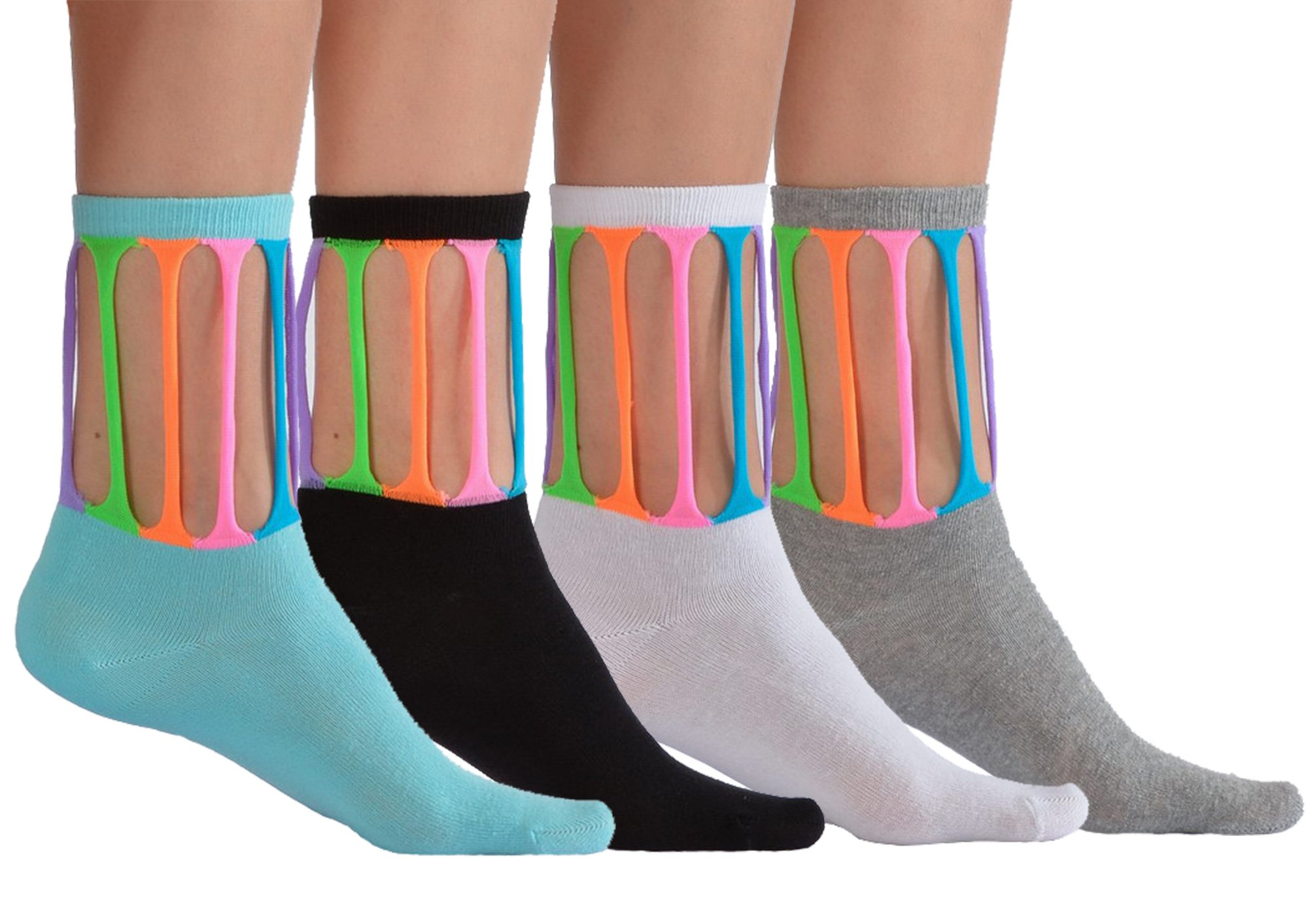 4 Pairs Pack Colorful Design Novelty Crazy Fun Socks For Girls by Softy Socks (Large/10 Years+/Shoe Size 6-9, 4 Pack (White,Black,Blue,Grey))