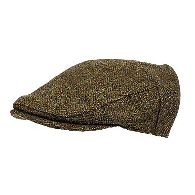 7eb587a2901 Heather Hats Men s Chapman British Tweed Flat Cap   Hat Green Herringbone  ...