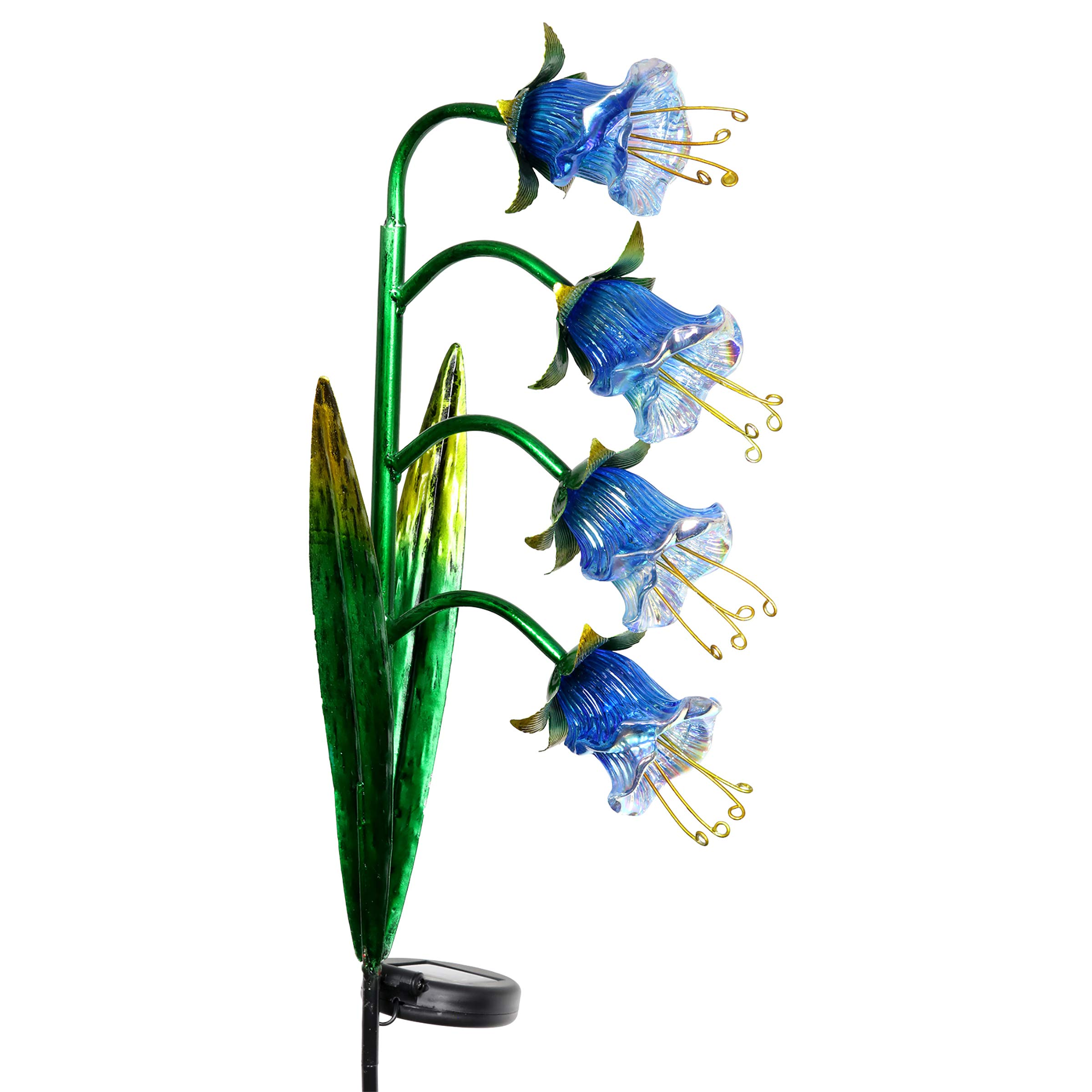 Exhart Solar Cascading Bluebell Flowers Yard Stake in Iridescent Glass - Bluebells Metal Stake w/Solar Outdoor Lights, Glass Flowers, Bluebells Light Stake, Bluebell Decor, 3.5'' L x 8'' W x 33.5'' H
