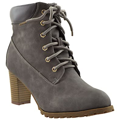 94bbb06e5a2 Womens Ankle Boots Lace Up Stacked Heel Ankle Padded Booties Gray SZ 5.5