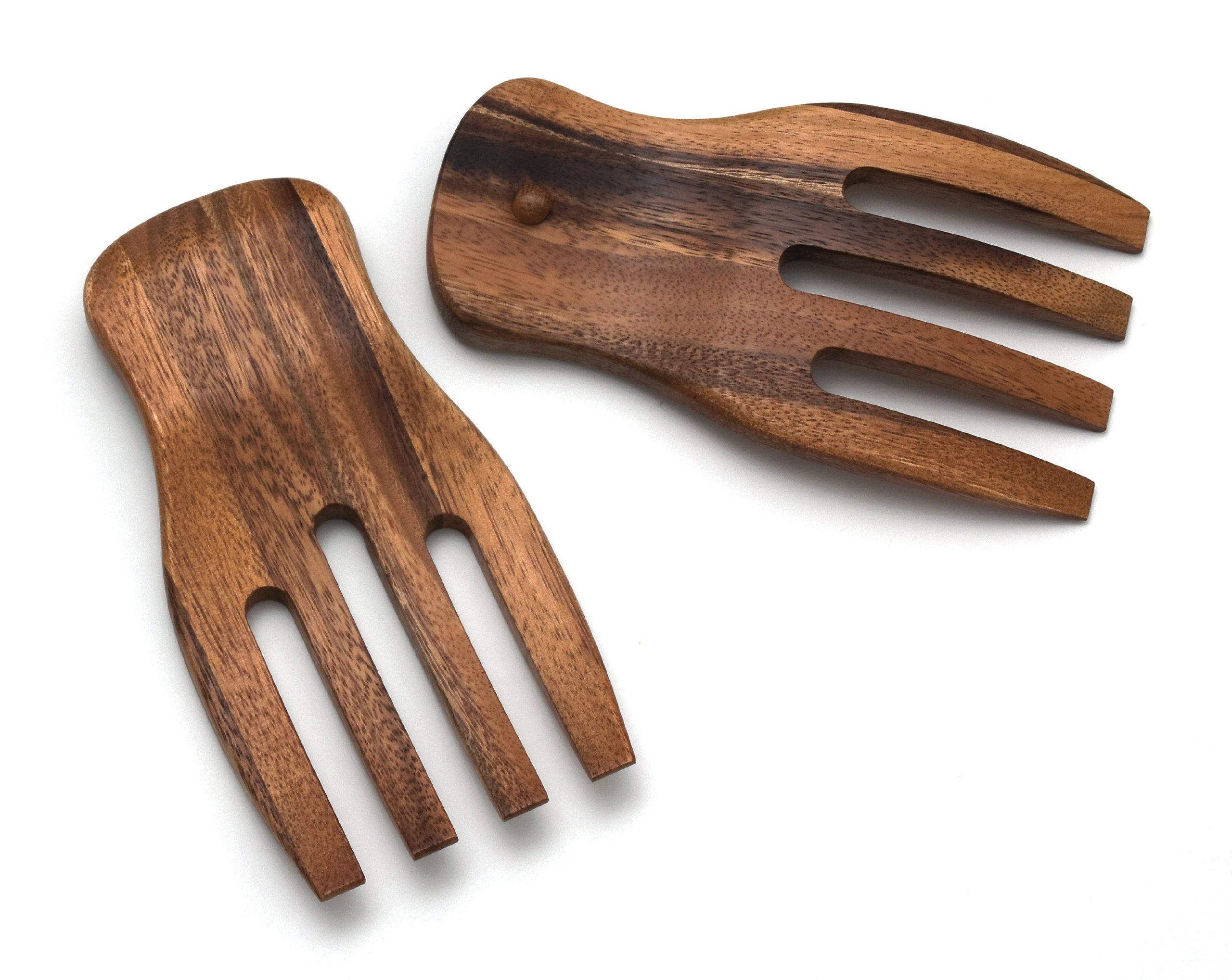 Lipper International 1102 Acacia Salad Hands, 3.75'' x 7'' x 1.88'', One Pair by Lipper International
