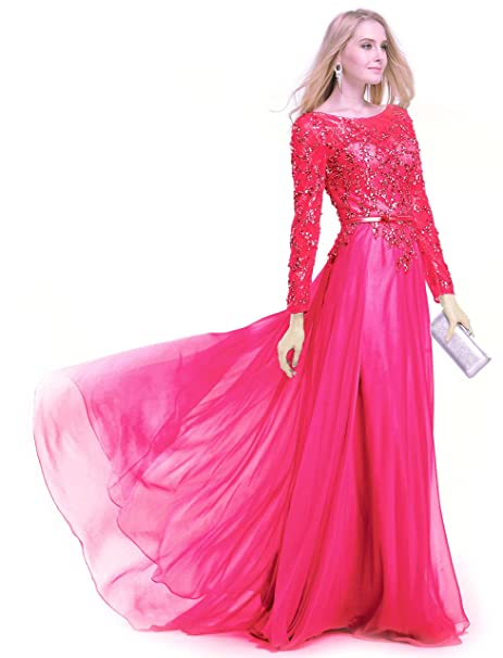 7dd889af356 Annie s Bridal Long Sleeve Lace Evening Gowns Chiffon Maxi Dress Hot Pink  US28W