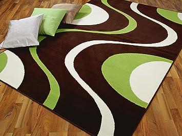Trendline teppich modern braun grün retro größen amazon